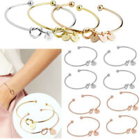 Simple Initial Knot Bracelet Women Creative Bridesmaid Opening Bangle Jewelry