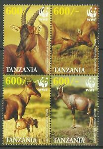 Tanzania 2006 WWF Faune Antilope Damalisque Sassabi Topi Antelope Animals 4v