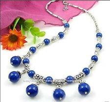Fashion Tibet silver/Egyptian lapis lazuli Round Beads Pendants Necklace