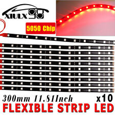 "10X Red 30CM/12 LED Car Motors Truck Flexible Strip Light Waterproof 12V 12"" USA"