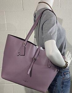 COACH 58849 Polished Pebble Leather Large Market Tote Handbag Lavender NWOT