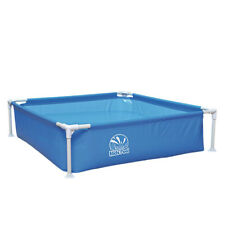 Kids Pool Blau 122x122 Stahlrahmen Planschbecken Kinderpool Garten Schwimmbecken