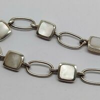 """Sterling silver solid 925 bracelet chain bangle Az953 7"""" pretty mother of pearl."""