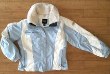 NILS Womens Hooded White & Blue Winter Coat - Ski Jacket - Detachable Fur 12 M/L