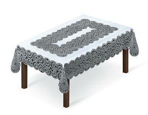 "Tablecloth lace cream/dark gold or white/grey (150x240cm) 59""x 94"" rectangular"