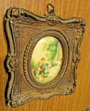 Vintage Shabby and Chic Hanging Ornate Resin Molded Picture Lady Gentleman