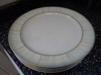 DENBY STRIPE DINNER PLATES X 4