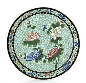 1930's Chinese Cloisonne Enamel Tea Tray Plate Lily Flowers