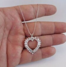 OPEN HEART NECKLACE PENDANT W/ 3.50 CT BAGUETTE DIAMOND/18'/ 925 STERLING SILVER