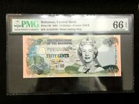 Bahamas 1/2 Dollar 2001 World Paper Money UNC Currency - PMG Certified