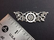 13334      Matte Silver Oxidized Floral Victorian Filigree Brass Jewelry Finding