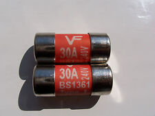 2 X 30 A (RED) AMP LAWSON / VF CONSUMER UNIT FUSE BS 1361