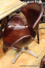 "35"" H office modern swivel dark Leather chair vintage cigar brown aluminum base"