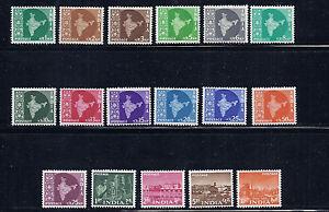 INDIA 1958-63 definitives (Scott 399-416 short 412 else complete to 10R) VF MLH