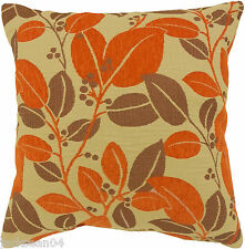"2X FILLED CARNABY ORANGE BEIGE LEAF FLORAL CHENILLE 18"" THICK CUSHIONS #LOF"