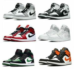Air Jordan 1 Mid GS & MEN Light Smoke Grey Black White Sports Shoes Neu