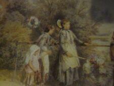 Victorian Era Print Four Girls with Wreaths on Footbridge Metal Frame Unsigned