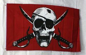 CRIMSON PIRATE 3' x 5' Flag Banner SKULL & CROSSBONES Metal Grommets Polyester