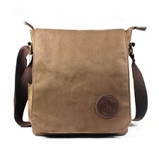 Men's Vintage Canvas School Satchel Military Laptop Shoulder Messenger Bag Brown