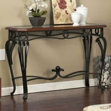 Metal Wood Console Table Sofa Entry Living Room Furniture Glass Top Accent Foyer
