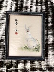 vintage silk embroidery bunny white rabbit art framed handmade asian nature