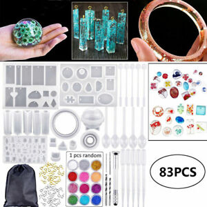 83PCS Resin Casting Molds Silicone DIY Jewelry Pendant Mould Making Craft Kit