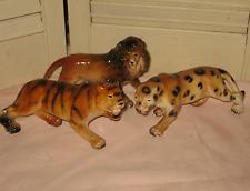 Set 3 Vintage LEFTON WILD CAT Figurine LION LEOPARD TIGER china ALL EXCELLENT