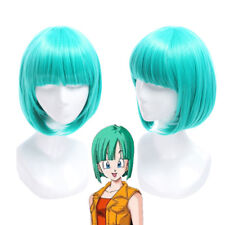 Halloween Dragon Ball Bulma Short Straight Bangs Bob Green Cosplay Wig US Stock
