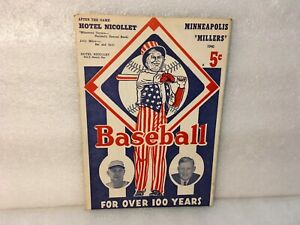 1940 Minneapolis Millers vs Kansas City Blues Program Phil Rizzuto