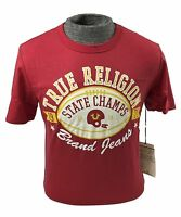 Mens True Religion Pigskin Football Red Short Sleeve Logo Crew T-shirt Tee S M L