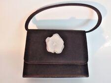 Carlo Fellini Evening Bag Purse Handbag Black Satin White Lucite Flower Crystals