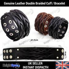 Genuine Leather Double Plat Bracelet / Cuff Rock Punk Goth Rocker Surf Unisex