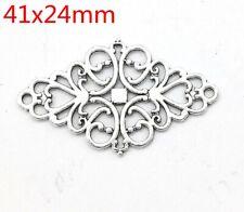 Tibetan silver Openwork floral ornament connector pendant For Bracelet 28pcs