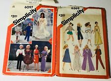 """2- Simplicity 6369/6097 1983 Barbie Fashion Doll Clothing Patterns 11-1/2"""" Rare"""