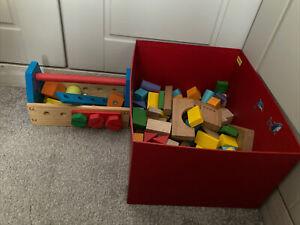 Job Lot Kids Wooden Building Blocks And Tool Blocks