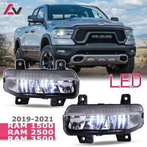 19-21 For RAM Clear Lens 6000K LED PAIR Fog light Bumper Lamps+Wiring+Switch