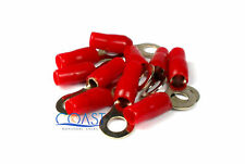 Red Gold Ring 4 Gauge Crimpable Terminal Connectors BRT4R - 10 Pack