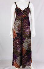 CARINA Women's Maxi Dress Size M Multi Color Stretch Braided Straps Paisley