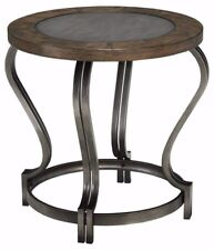 New Round End Table - Signature Design by Ashley Furniture- Vintage Brown & Gray