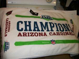 """Arizona Cardinals Super Bowl XLIII 43 Champions Trophy Towel 40"""" X 22"""" NFL ERROR"""