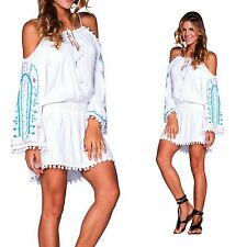 SEA GYPSY Boho White Off Shoulder Embroidered Bell Sleeve Pom Pom Tunic or Dress
