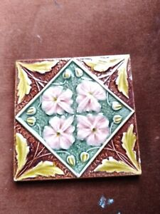 Antique Victorian Moulded Relief Tile Circa 1880s
