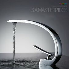 Bathroom Basin Faucet Chrome Brass Waterfall Spout Vanity 1 Hole Sink Mixer Tap