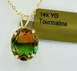AAA TOURMALINE  5.76 Cts  PENDANT NECKLACE 14k GOLD * New With Tag *