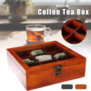 AU 9 Grid Wooden Coffee Tea Box Clear Lid Compartments Container Bag Candy  ε