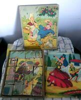 LES CUBES HUMORISTIQUES Coffret jouet ancien MFR cube puzzle BOIS multiface