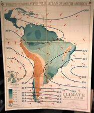 Original 1921 Philips' Comparative WALL Atlas ~ SOUTH AMERICA CLIMATE WINTER Map