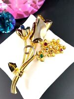 LOVELY VINTAGE GOLDTONE MULTICOLOR RHINESTONE TULIP FLOWER BOUQUET BROOCH PIN