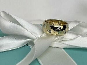 Tiffany & Co. Etoile 18k Gold Platinum Ring with Diamonds 8mm Wide Band With Box