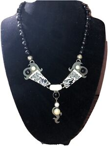 Echo of the Dreamer Baroque Pearl, Pearls, & Pottery Sterling Necklace